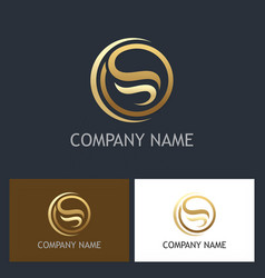gold abstract letter s round logo vector image vector image