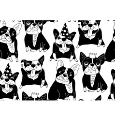 Happy dogs group french bulldog black seamless vector