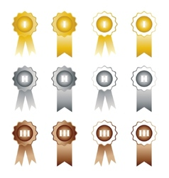 Medals with ribbons on white background first vector image vector image