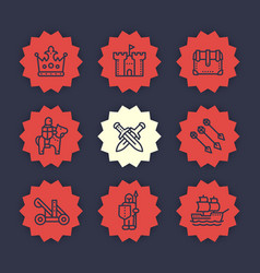 medieval war line icons set vector image
