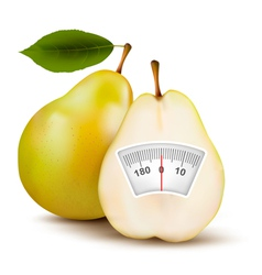 Pear with weight scale Diet concept vector image vector image