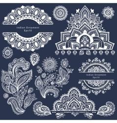 Set of ornamental Indian symbols vector image vector image