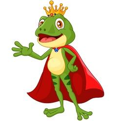 Cartoon adorable king frog waving hand vector image vector image