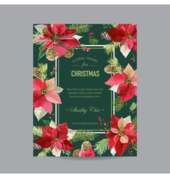 Christmas Invitation Poinsettia Greeting Card vector image