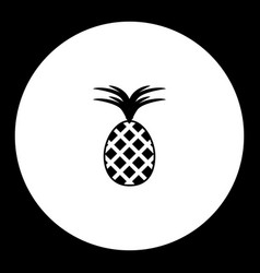 one isolated pineapple simple black icon eps10 vector image