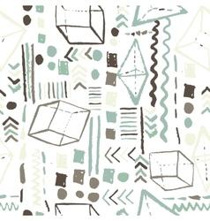 Seamless geometric hand drawn pattern in retro vector image