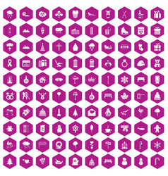 100 winter holidays icons hexagon violet vector image vector image