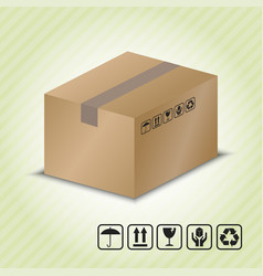 carton container with package handling symbol vector image vector image
