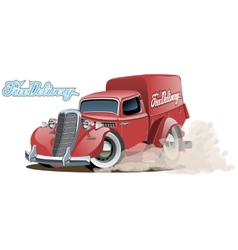 Cartoon retro delivery van vector image vector image
