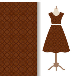 dress fabric with brown arabic pattern vector image vector image