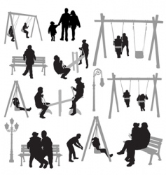 park silhouettes vector image vector image
