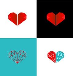 Two diamonds heart logo vector image vector image