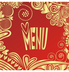 Valentines day romantic menu red and gold vector image vector image