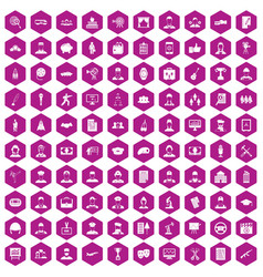 100 career icons hexagon violet vector