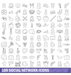 100 social network icons set outline style vector image