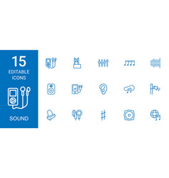 15 sound icons vector image