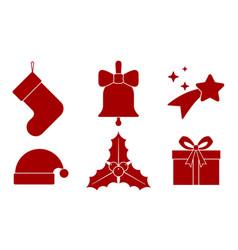 6 christmas icons vector image