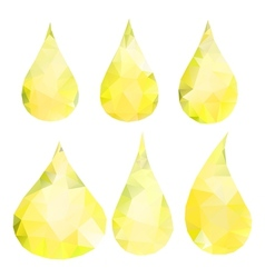 Abstract yellow drops consisting of triangles vector