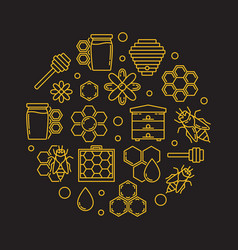 apiary and beekeeping round in vector image