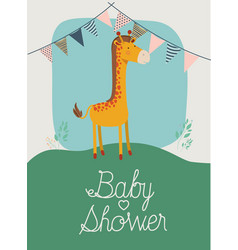 baby shower card with cute jiraffe vector image