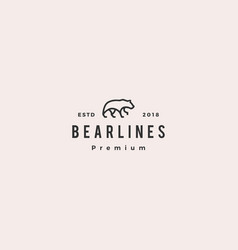 bear logo line monoline outline icon vector image