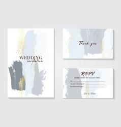 Blue grey pastel greeting brush strokes wedding vector