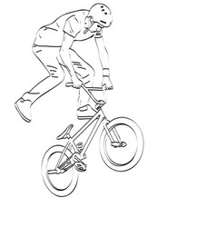 Bmx stunt cyclist line art vector