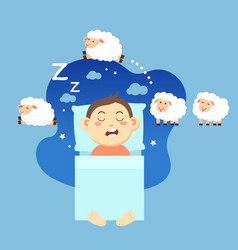 boy sleepingcounting sheep to fall asleep vector image