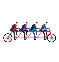Business people riding on tandem bicycle team vector