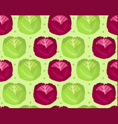 Cabbage seamless pattern red cabbage endless vector