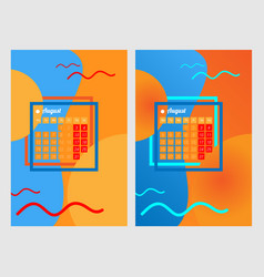 calendar for the summer month august vector image