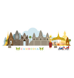 Cambodia landmarks skyline vector