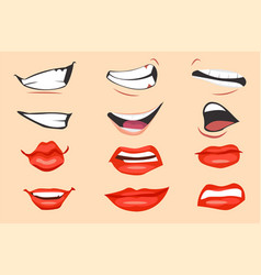Cartoon mouth expressions set vector