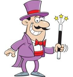 Cartoon smiling magician holding a magic wand vector image