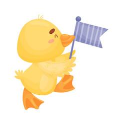 Cartoon yellow duckling on a vector