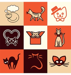 cats logo icons vector image