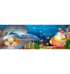 Children riding in car and submarine underwater vector image