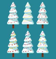 christmas tree with garland winter holiday vector image
