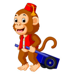Circus monkey carrying cart vector