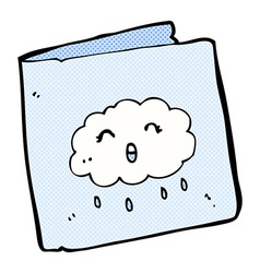 Comic cartoon card with cloud pattern vector