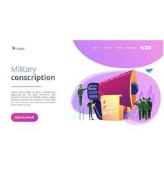 Compulsory military service concept landing page vector