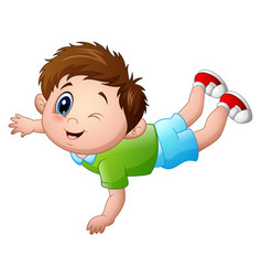 cute little boy cartoon prone vector image