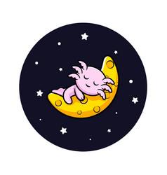 Cute oxolotl sleeping on moon cartoon character vector
