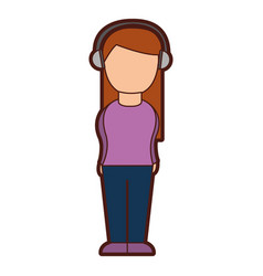 cute woman with earphone vector image