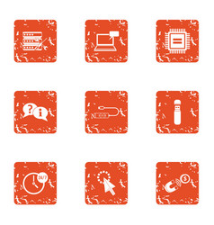 Discrete signal icons set grunge style vector