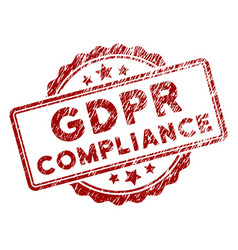 Distress textured gdpr compliance stamp seal vector
