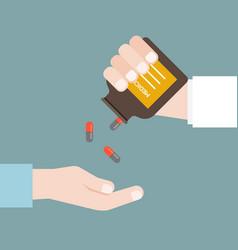 Doctor or pharmacist dispense capsule of medicine vector