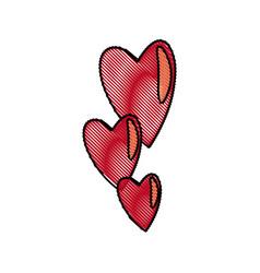 Draw hearts falling emotion romantic symbol vector