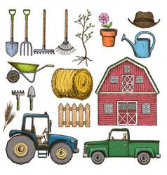 farming sketch icons vector image