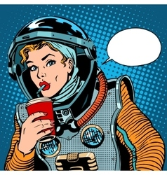 Female astronaut drinking soda vector